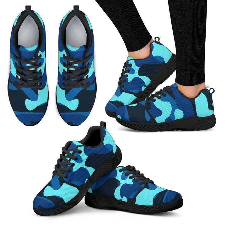 Blue And Black Camouflage Print Women's Athletic Shoes GearFrost