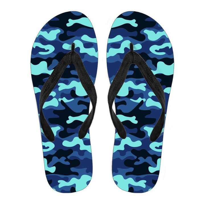 Blue And Black Camouflage Print Women's Flip Flops GearFrost