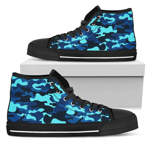 Blue And Black Camouflage Print Women's High Top Shoes GearFrost