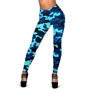 Blue And Black Camouflage Print Women's Leggings GearFrost