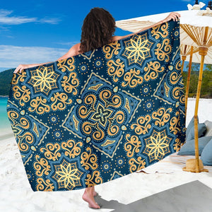 Blue And Gold Bohemian Mandala Print Beach Sarong Wrap GearFrost
