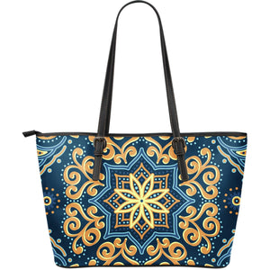 Blue And Gold Bohemian Mandala Print Leather Tote Bag GearFrost