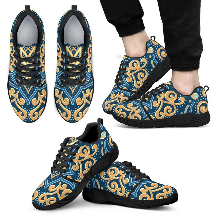 Blue And Gold Bohemian Mandala Print Men's Athletic Shoes GearFrost