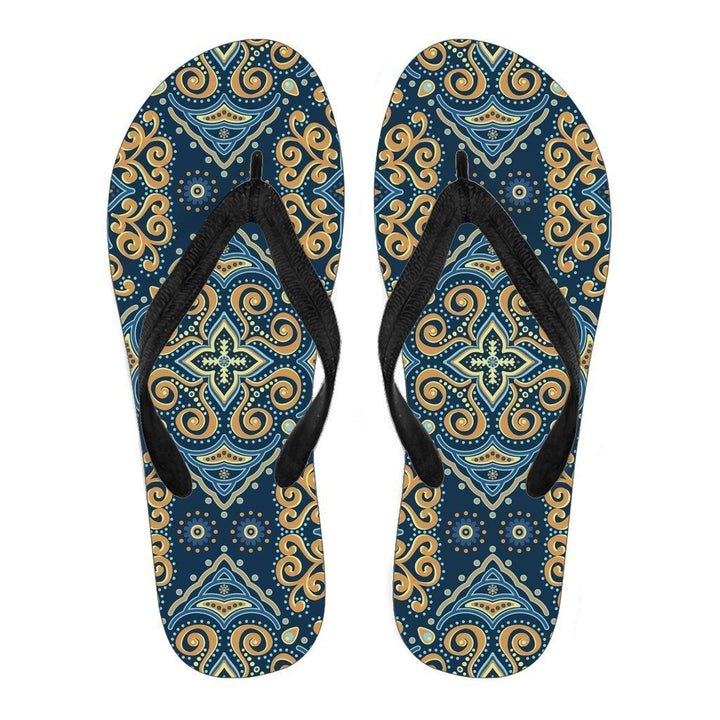 Blue And Gold Bohemian Mandala Print Men's Flip Flops GearFrost