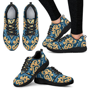 Blue And Gold Bohemian Mandala Print Women's Athletic Shoes GearFrost