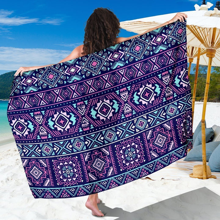 Blue And Pink Aztec Pattern Print Beach Sarong Wrap GearFrost