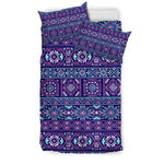 Blue And Pink Aztec Pattern Print Duvet Cover Bedding Set GearFrost