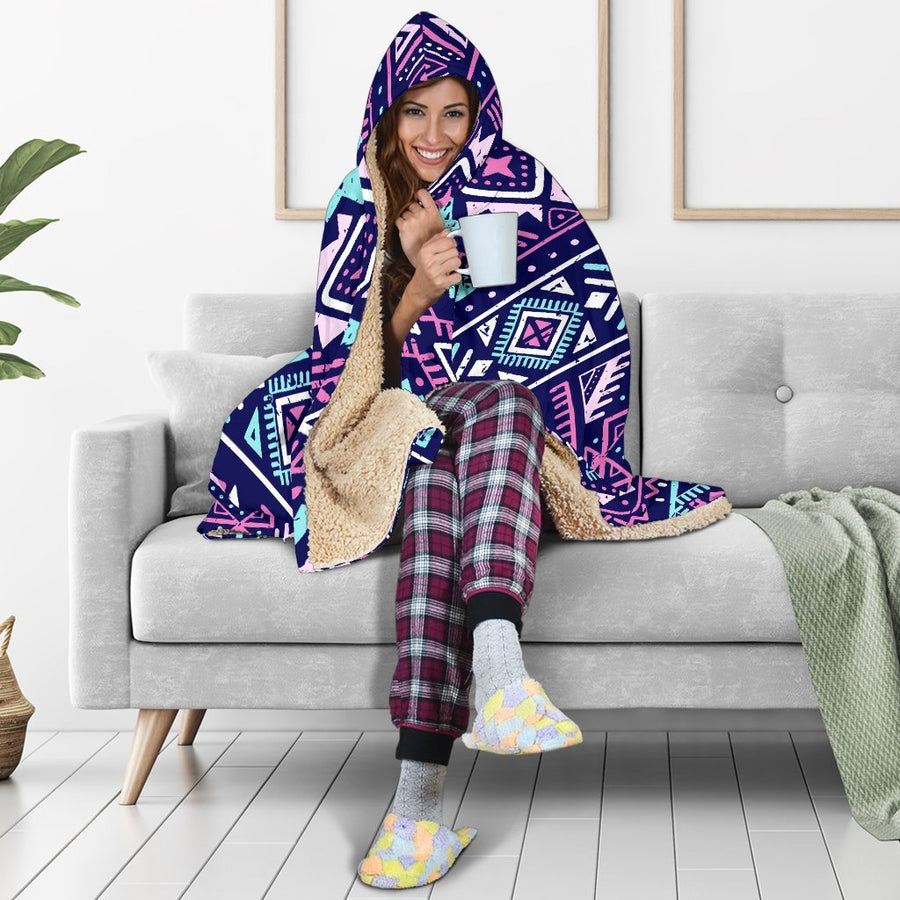 Blue And Pink Aztec Pattern Print Hooded Blanket GearFrost