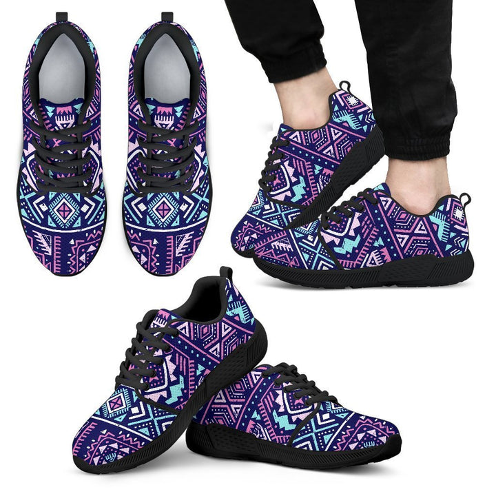Blue And Pink Aztec Pattern Print Men's Athletic Shoes GearFrost