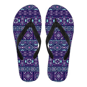 Blue And Pink Aztec Pattern Print Men's Flip Flops GearFrost