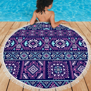 Blue And Pink Aztec Pattern Print Round Beach Blanket GearFrost