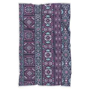 Blue And Pink Aztec Pattern Print Sherpa Blanket GearFrost