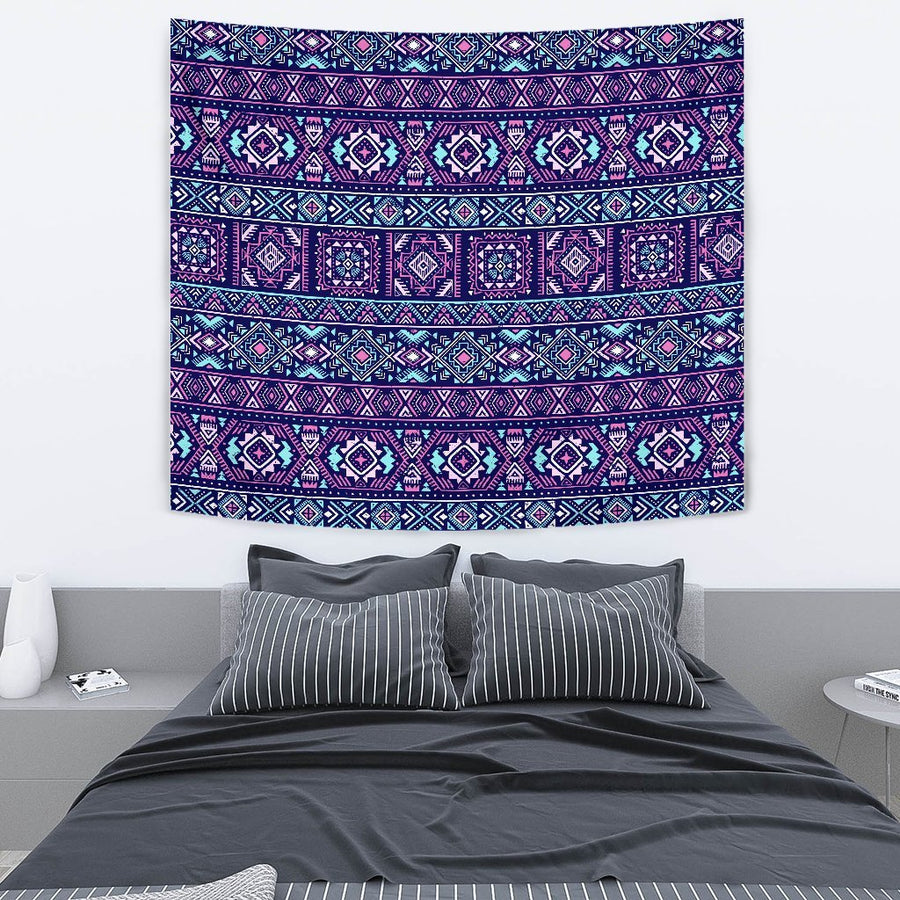 Blue And Pink Aztec Pattern Print Wall Tapestry GearFrost