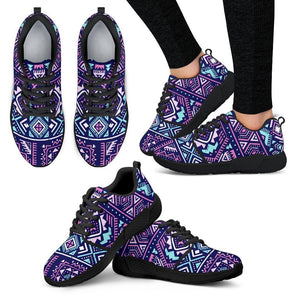 Blue And Pink Aztec Pattern Print Women's Athletic Shoes GearFrost