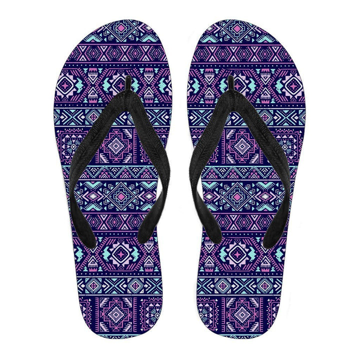 Blue And Pink Aztec Pattern Print Women's Flip Flops GearFrost