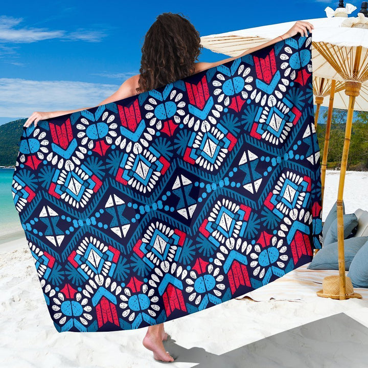 Blue And Red Aztec Pattern Print Beach Sarong Wrap GearFrost