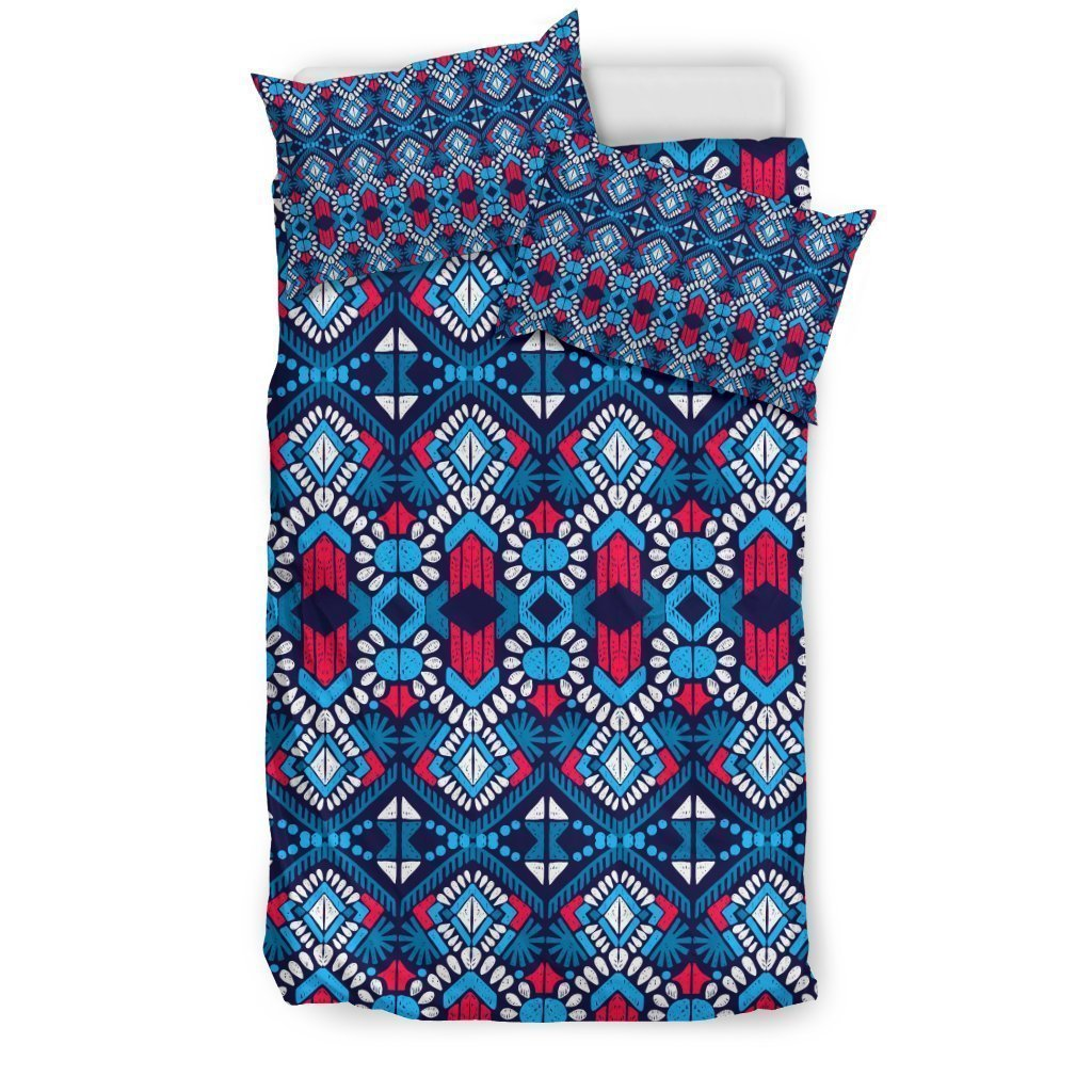 Blue And Red Aztec Pattern Print Duvet Cover Bedding Set GearFrost