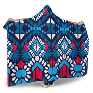 Blue And Red Aztec Pattern Print Hooded Blanket GearFrost