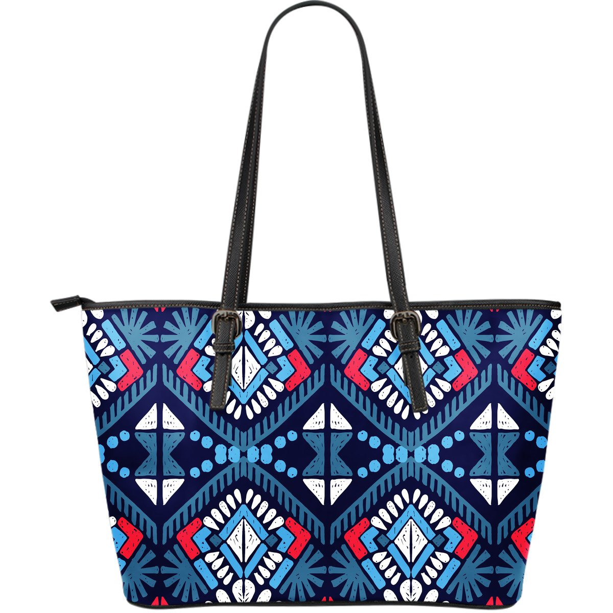Blue And Red Aztec Pattern Print Leather Tote Bag GearFrost