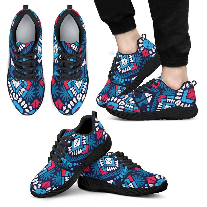 Blue And Red Aztec Pattern Print Men's Athletic Shoes GearFrost