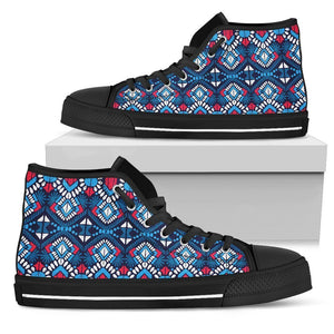 Blue And Red Aztec Pattern Print Men's High Top Shoes GearFrost