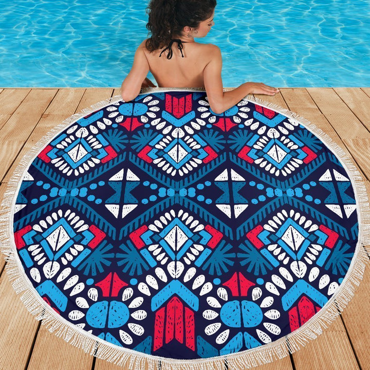 Blue And Red Aztec Pattern Print Round Beach Blanket GearFrost
