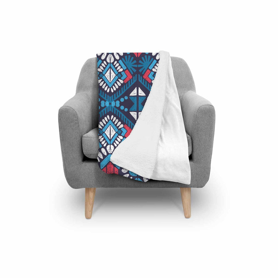 Blue And Red Aztec Pattern Print Sherpa Blanket GearFrost