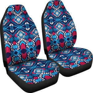 Blue And Red Aztec Pattern Print Universal Fit Car Seat Covers GearFrost