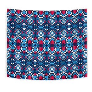 Blue And Red Aztec Pattern Print Wall Tapestry GearFrost