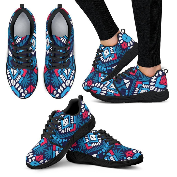 Blue And Red Aztec Pattern Print Women's Athletic Shoes GearFrost