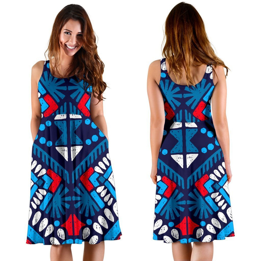 Blue And Red Aztec Pattern Print Women's Dress GearFrost