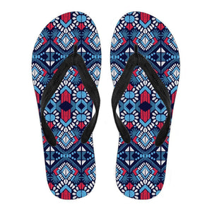 Blue And Red Aztec Pattern Print Women's Flip Flops GearFrost