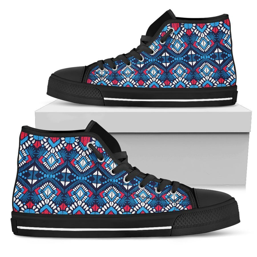 Blue And Red Aztec Pattern Print Women's High Top Shoes GearFrost