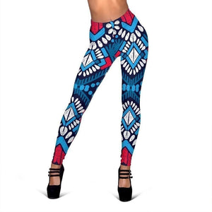Blue And Red Aztec Pattern Print Women's Leggings GearFrost