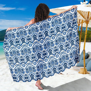Blue And White Aztec Pattern Print Beach Sarong Wrap GearFrost