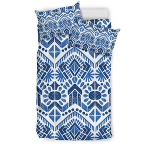 Blue And White Aztec Pattern Print Duvet Cover Bedding Set GearFrost