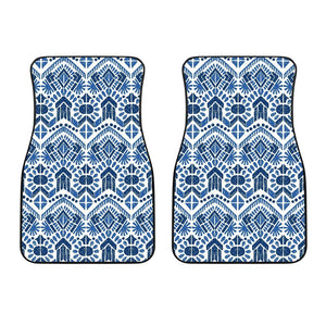 Blue And White Aztec Pattern Print Front Car Floor Mats GearFrost
