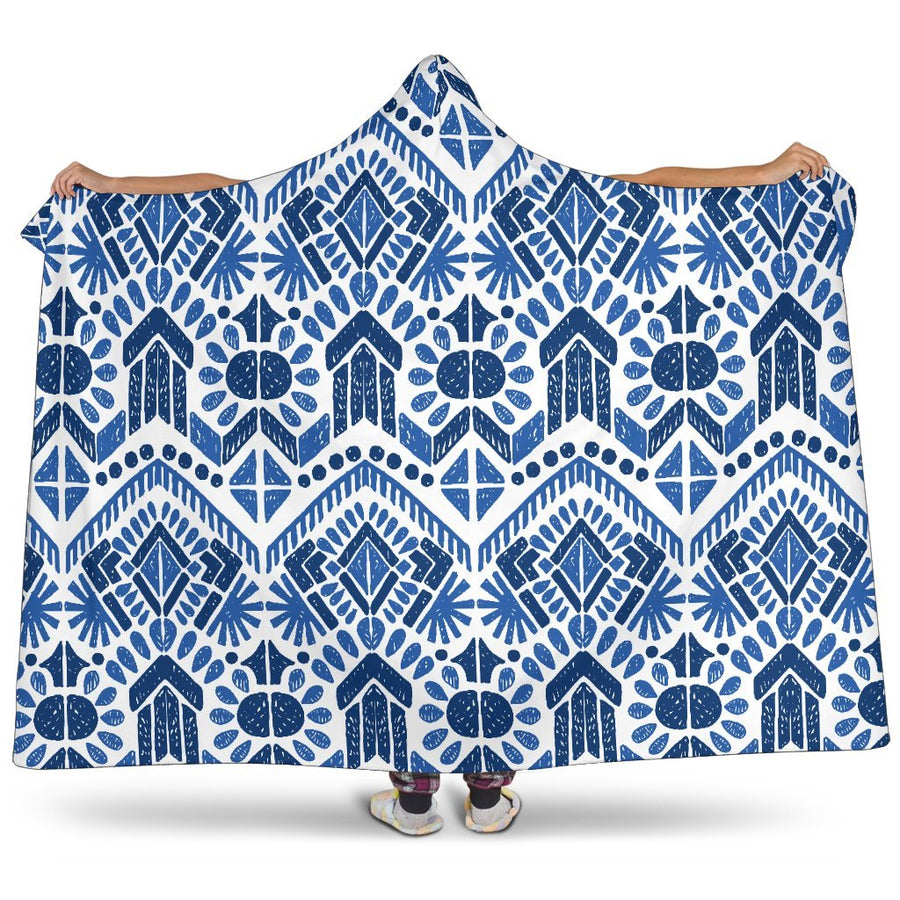 Blue And White Aztec Pattern Print Hooded Blanket GearFrost