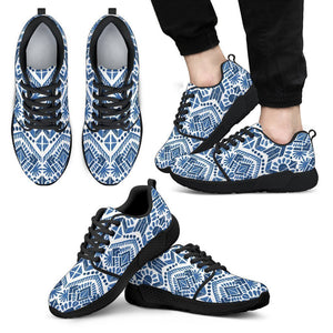 Blue And White Aztec Pattern Print Men's Athletic Shoes GearFrost