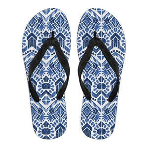 Blue And White Aztec Pattern Print Men's Flip Flops GearFrost