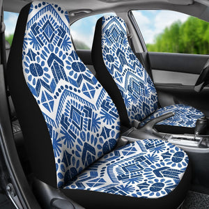 Blue And White Aztec Pattern Print Universal Fit Car Seat Covers GearFrost