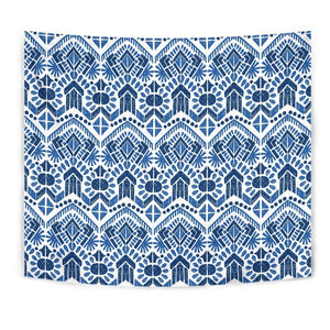 Blue And White Aztec Pattern Print Wall Tapestry GearFrost