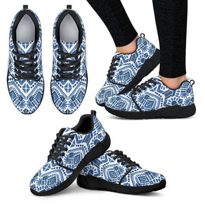Blue And White Aztec Pattern Print Women's Athletic Shoes GearFrost