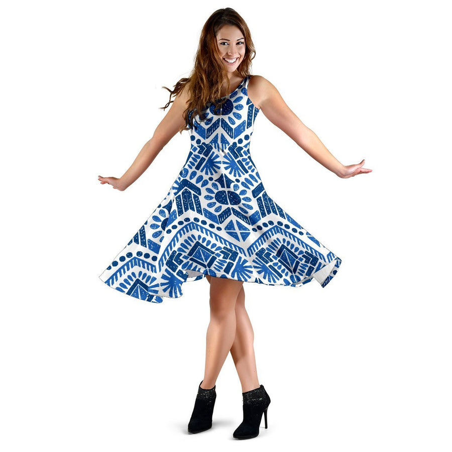 Blue And White Aztec Pattern Print Women's Dress GearFrost