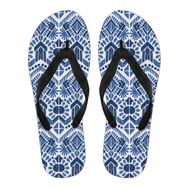 Blue And White Aztec Pattern Print Women's Flip Flops GearFrost