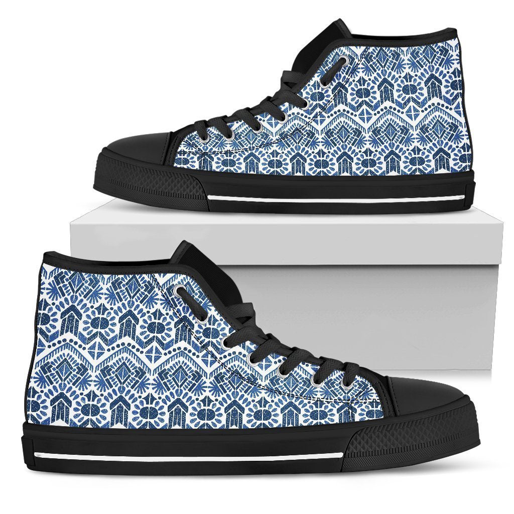 Blue And White Aztec Pattern Print Women's High Top Shoes GearFrost