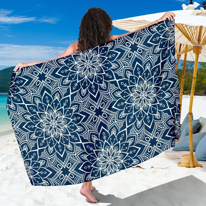 Blue And White Bohemian Mandala Print Beach Sarong Wrap GearFrost