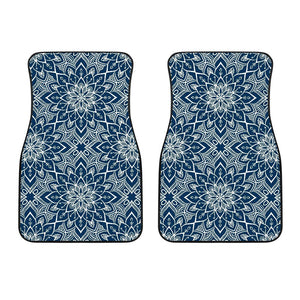 Blue And White Bohemian Mandala Print Front Car Floor Mats GearFrost