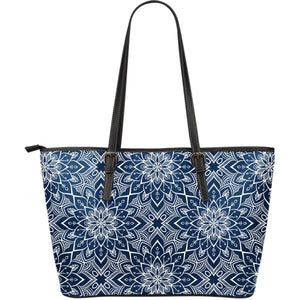 Blue And White Bohemian Mandala Print Leather Tote Bag GearFrost