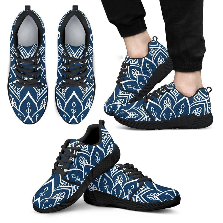Blue And White Bohemian Mandala Print Men's Athletic Shoes GearFrost